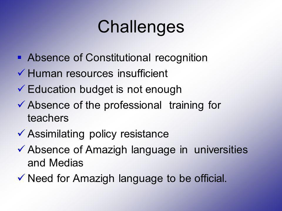 Challenges Absence of Constitutional recognition Human resources insufficient Education budget is not enough Absence of the professional training for