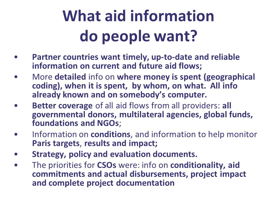 What aid information do people want.