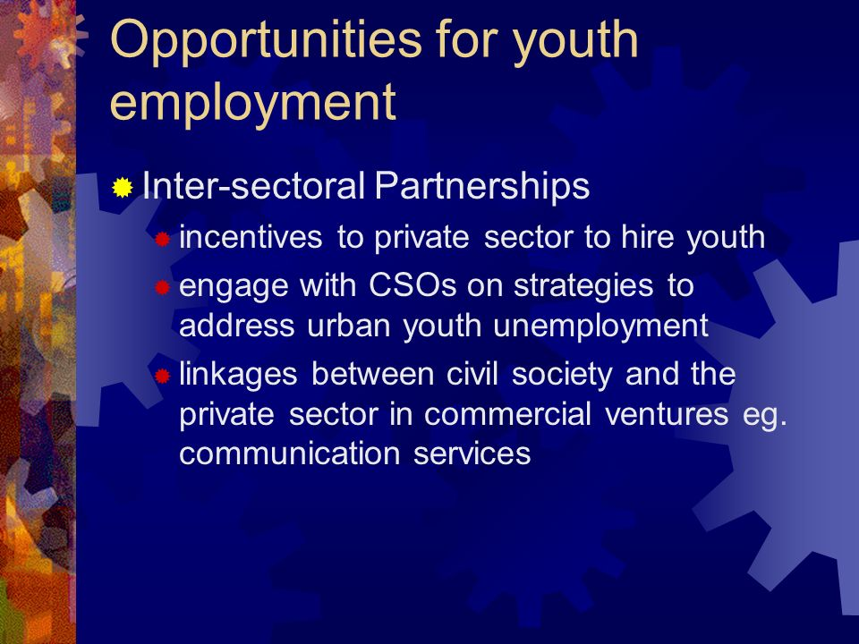 Opportunities for youth employment Inter-sectoral Partnerships incentives to private sector to hire youth engage with CSOs on strategies to address urban youth unemployment linkages between civil society and the private sector in commercial ventures eg.