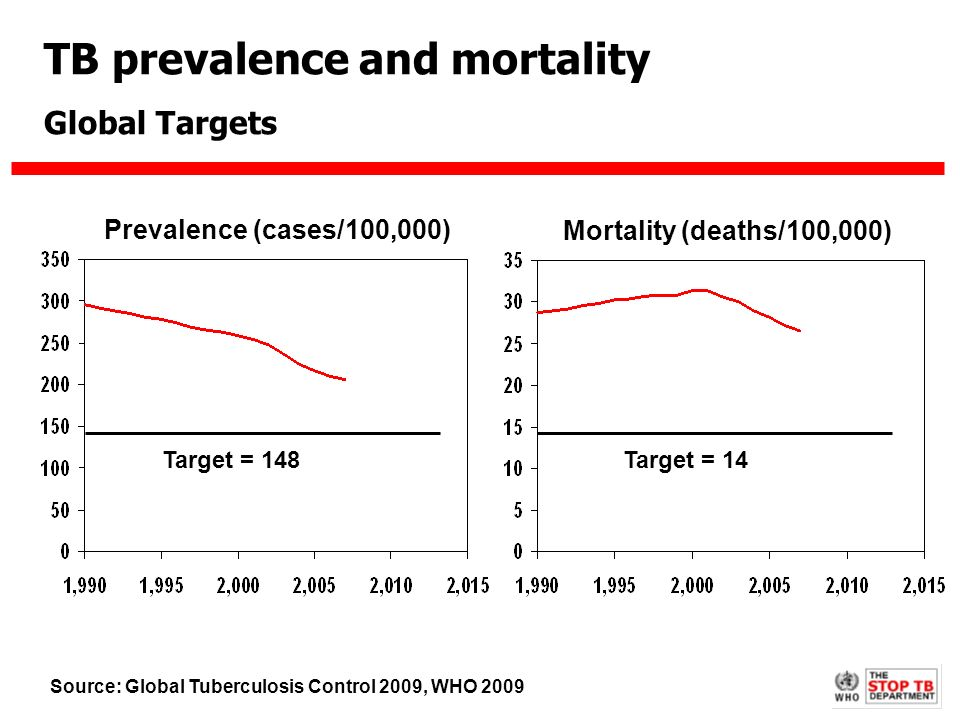 TB prevalence and mortality Global Targets Prevalence (cases/100,000) Mortality (deaths/100,000) Target = 148Target = 14 Source: Global Tuberculosis Control 2009, WHO 2009