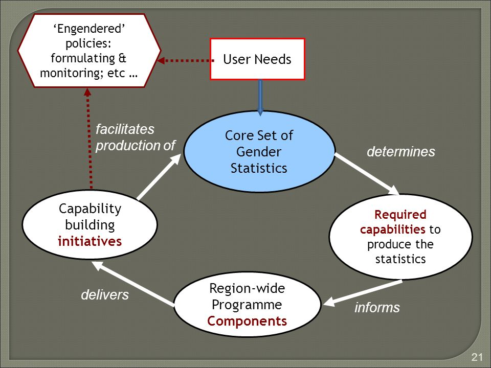 21 User Needs Core Set of Gender Statistics Required capabilities to produce the statistics Region-wide Programme Components Capability building initiatives determines informs delivers facilitates production of Engendered policies: formulating & monitoring; etc …