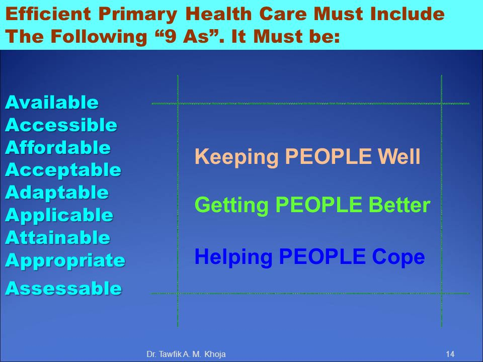 Efficient Primary Health Care Must Include The Following 9 As. It Must be:AvailableAccessibleAffordableAcceptableAdaptableApplicableAttainableAppropri