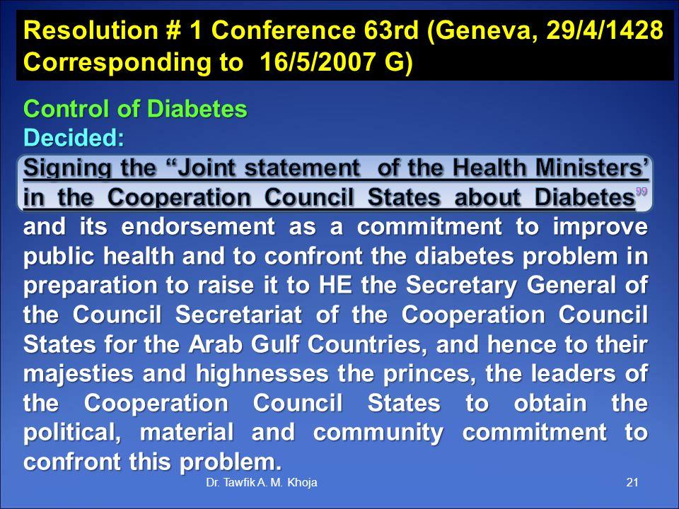 Resolution # 1 Conference 63rd (Geneva, 29/4/1428 Corresponding to 16/5/2007 G) 21Dr. Tawfik A. M. Khoja