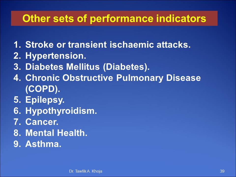 Dr. Tawfik A. Khoja39 Other sets of performance indicators 1.Stroke or transient ischaemic attacks. 2.Hypertension. 3.Diabetes Mellitus (Diabetes). 4.