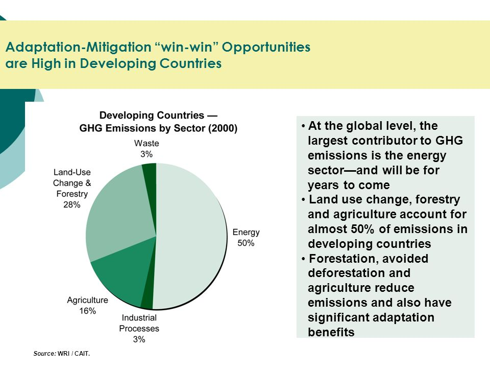 Adaptation-Mitigation win-win Opportunities are High in Developing Countries At the global level, the largest contributor to GHG emissions is the energy sectorand will be for years to come Land use change, forestry and agriculture account for almost 50% of emissions in developing countries Forestation, avoided deforestation and agriculture reduce emissions and also have significant adaptation benefits Source: WRI / CAIT.