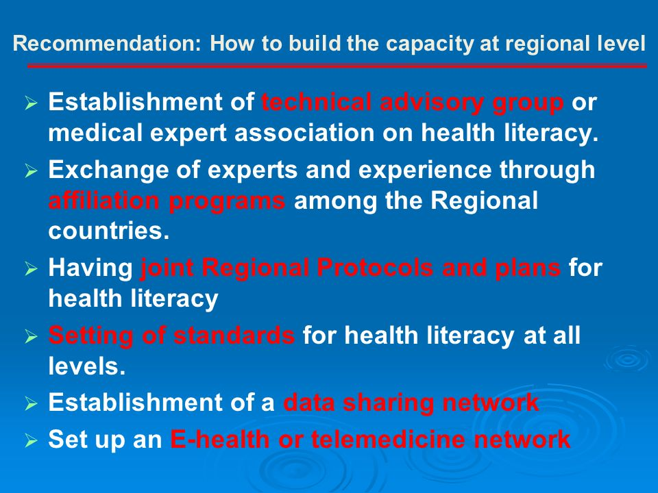 Establishment of technical advisory group or medical expert association on health literacy.