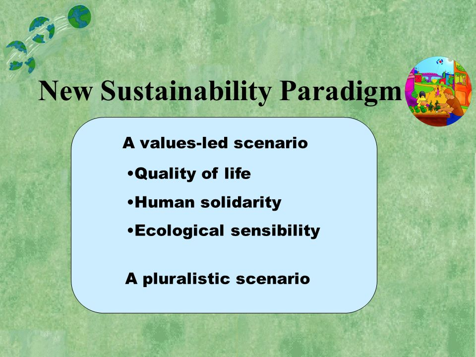 New Sustainability Paradigm Quality of life Human solidarity Ecological sensibility A values-led scenario A pluralistic scenario