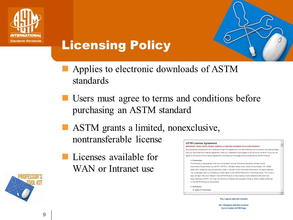 10 Digital Rights Management Electronic watermarking of all downloaded ASTM standards (PDF format) Program locates inappropriately posted ASTM documents on the Internet