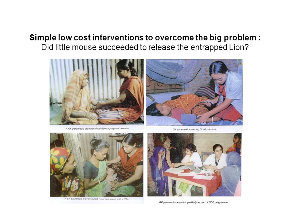 Simple low cost interventions to overcome the big problem : Did little mouse succeeded to release the entrapped Lion?