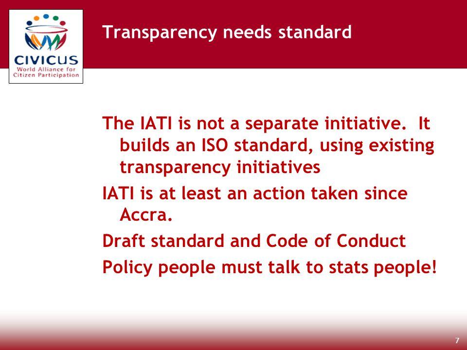The IATI is not a separate initiative.