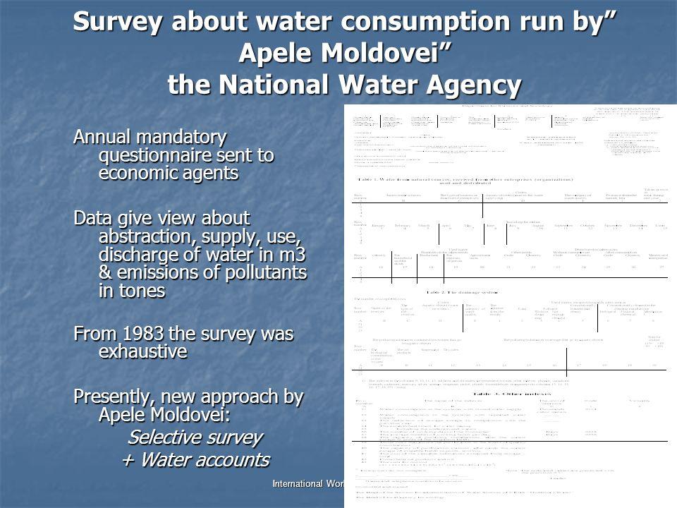 Dr. Jana Tafi & WDC team International Work Session on Water Statistics Vienna, Austria, 20 June – 22 June 2005 Survey about water consumption run by