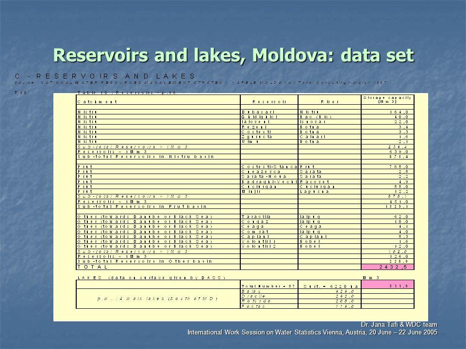 Dr. Jana Tafi & WDC team International Work Session on Water Statistics Vienna, Austria, 20 June – 22 June 2005 Reservoirs and lakes, Moldova: data se