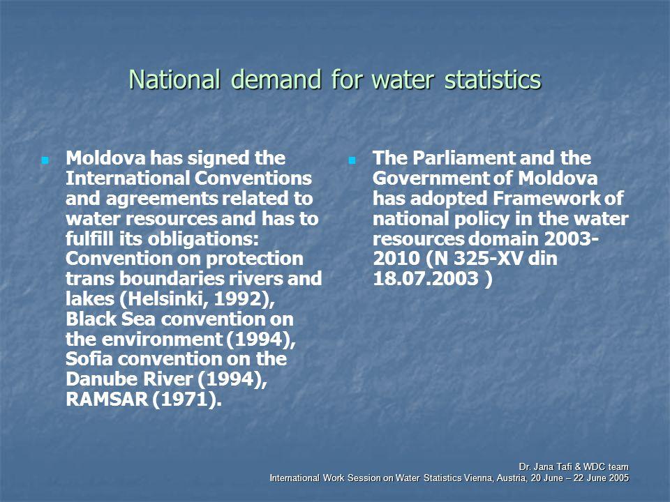 Dr. Jana Tafi & WDC team International Work Session on Water Statistics Vienna, Austria, 20 June – 22 June 2005 National demand for water statistics M