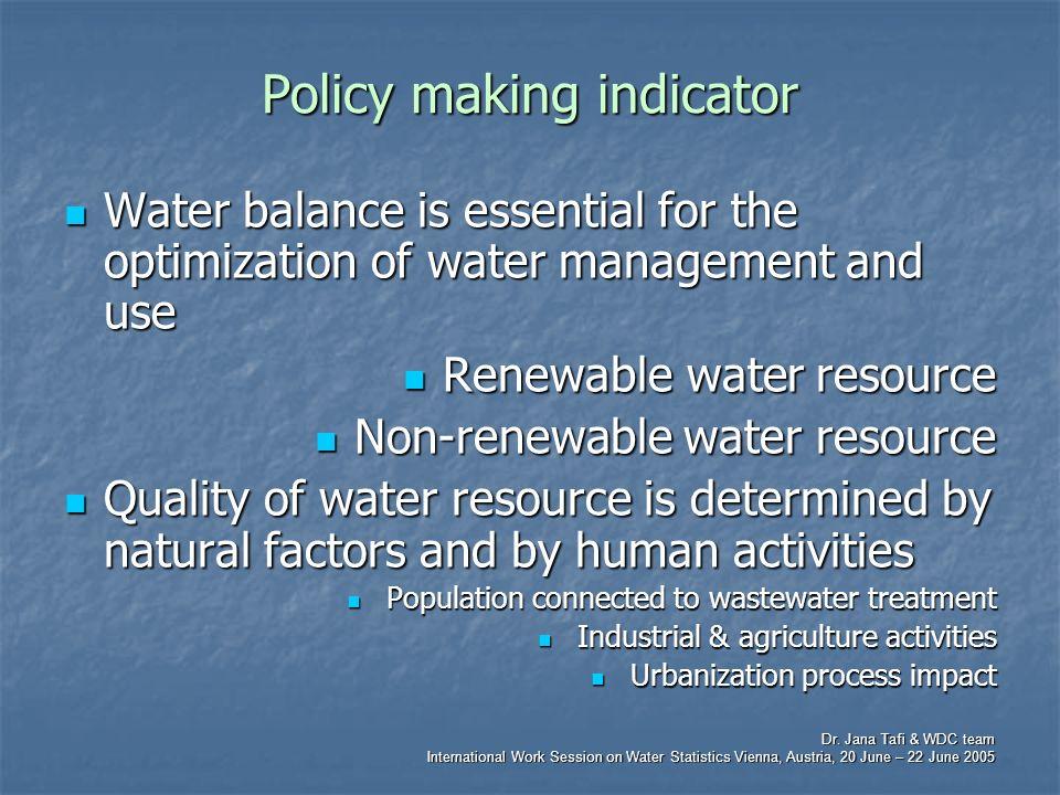 Dr. Jana Tafi & WDC team International Work Session on Water Statistics Vienna, Austria, 20 June – 22 June 2005 Policy making indicator Water balance