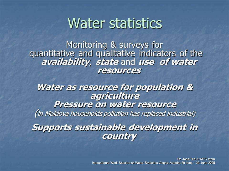 Dr. Jana Tafi & WDC team International Work Session on Water Statistics Vienna, Austria, 20 June – 22 June 2005 Water statistics Monitoring & surveys