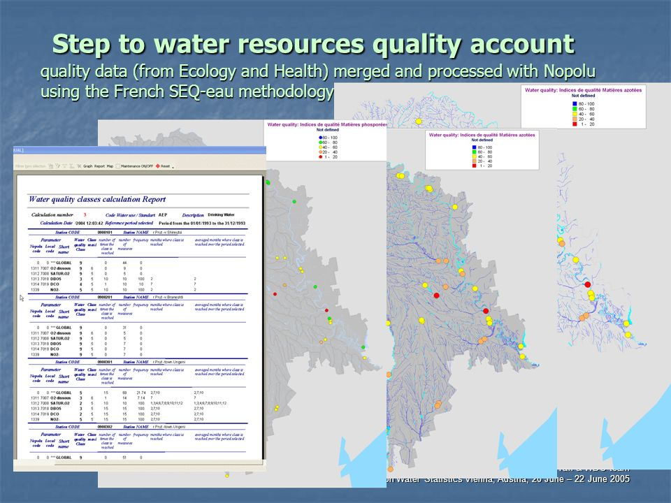 Dr. Jana Tafi & WDC team International Work Session on Water Statistics Vienna, Austria, 20 June – 22 June 2005 Step to water resources quality accoun