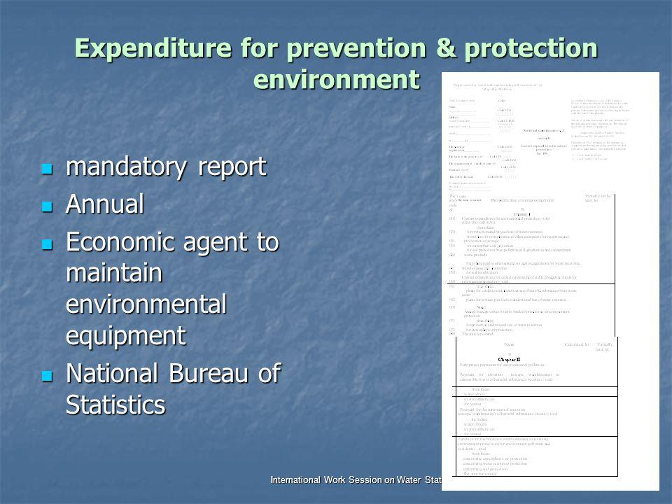Dr. Jana Tafi & WDC team International Work Session on Water Statistics Vienna, Austria, 20 June – 22 June 2005 Expenditure for prevention & protectio