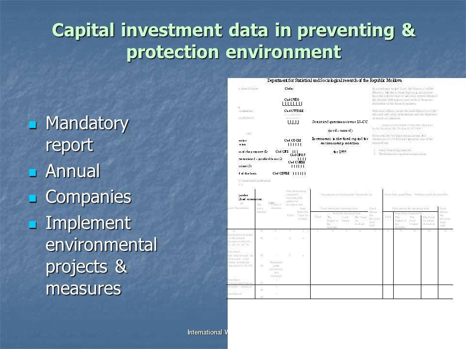 Dr. Jana Tafi & WDC team International Work Session on Water Statistics Vienna, Austria, 20 June – 22 June 2005 Capital investment data in preventing