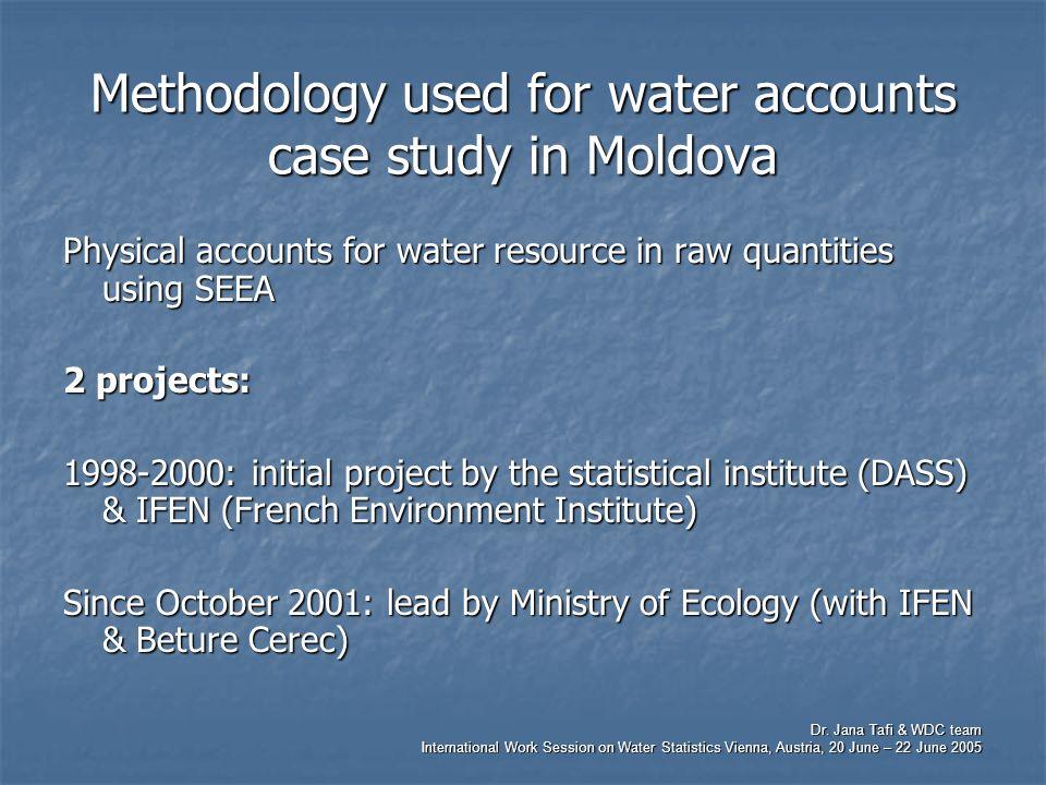 Dr. Jana Tafi & WDC team International Work Session on Water Statistics Vienna, Austria, 20 June – 22 June 2005 Methodology used for water accounts ca