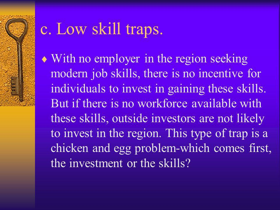 c. Low skill traps. With no employer in the region seeking modern job skills, there is no incentive for individuals to invest in gaining these skills.