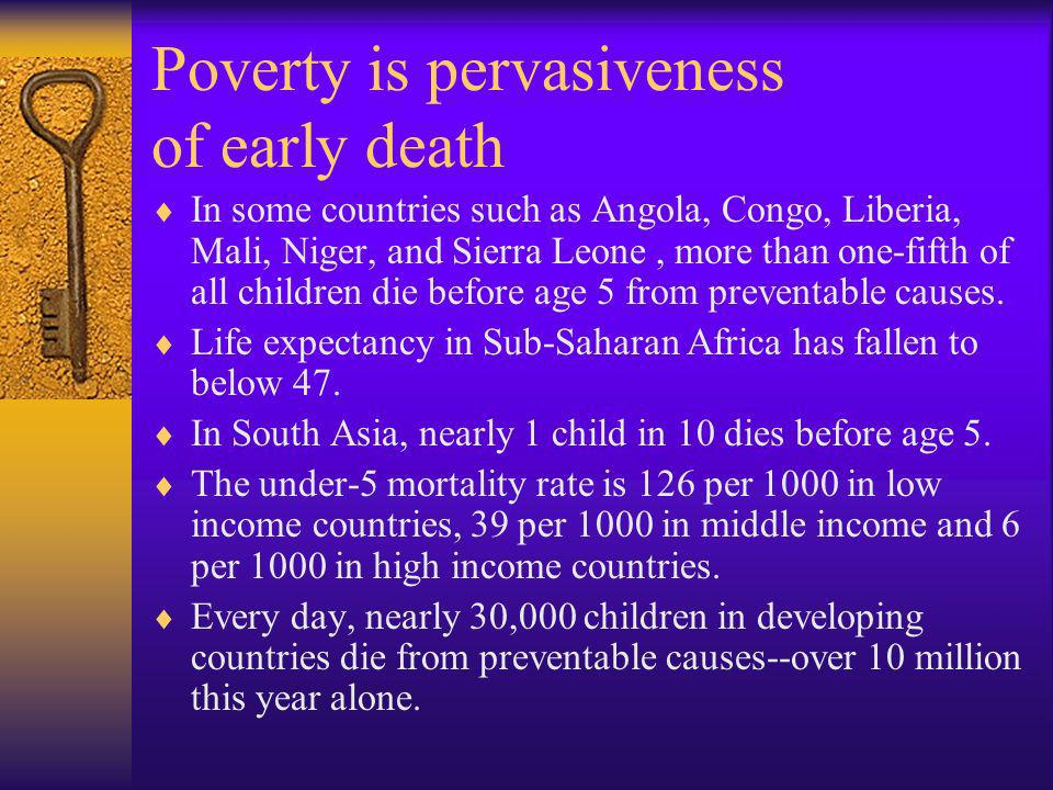 Poverty is pervasiveness of early death In some countries such as Angola, Congo, Liberia, Mali, Niger, and Sierra Leone, more than one-fifth of all ch