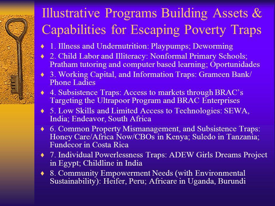 Illustrative Programs Building Assets & Capabilities for Escaping Poverty Traps 1. Illness and Undernutrition: Playpumps; Deworming 2. Child Labor and