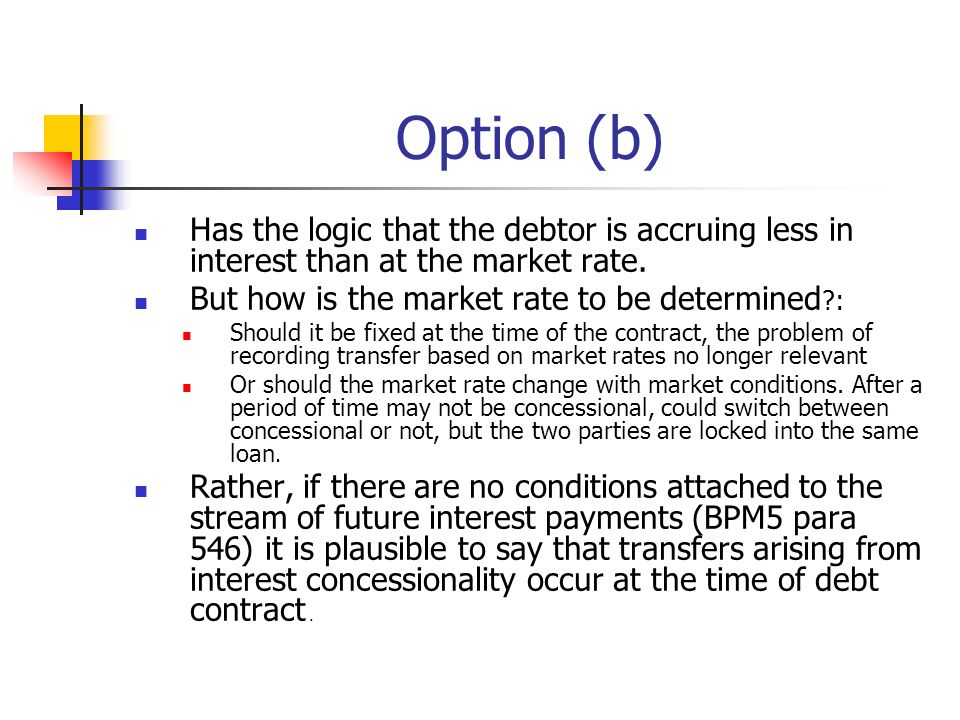 Option (b) Has the logic that the debtor is accruing less in interest than at the market rate.