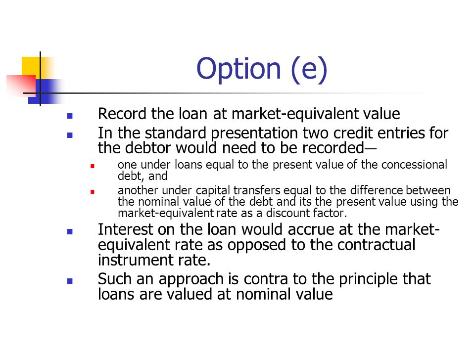 Option (e) Record the loan at market-equivalent value In the standard presentation two credit entries for the debtor would need to be recorded one under loans equal to the present value of the concessional debt, and another under capital transfers equal to the difference between the nominal value of the debt and its the present value using the market-equivalent rate as a discount factor.