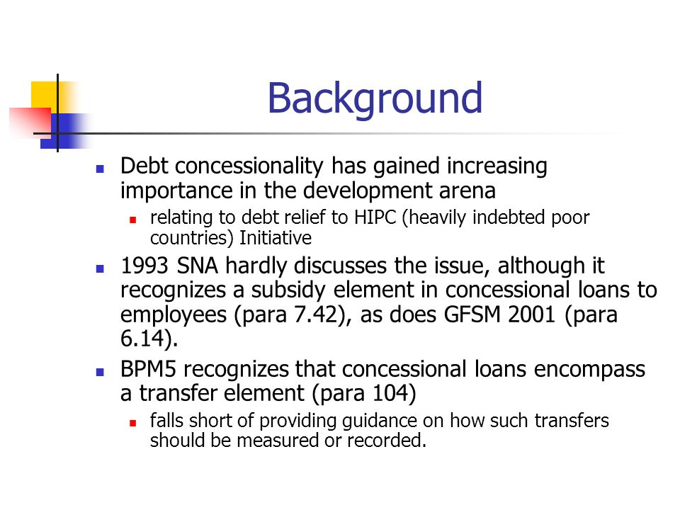 Background Debt concessionality has gained increasing importance in the development arena relating to debt relief to HIPC (heavily indebted poor count