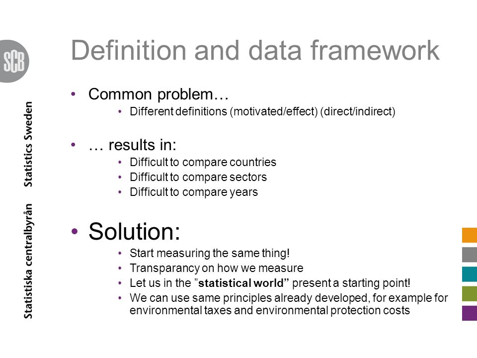 Definition and data framework Common problem… Different definitions (motivated/effect) (direct/indirect) … results in: Difficult to compare countries Difficult to compare sectors Difficult to compare years Solution: Start measuring the same thing.