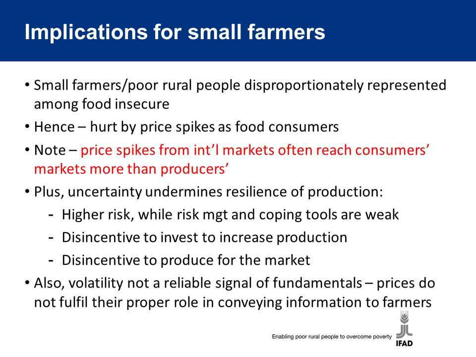 In short: Price volatility threatens the food security of small farmers, and undermines their ability to contribute to more resilient food supply in developing countries (which would mitigate volatility) Hence, addressing volatility essential both for short-term food security of poor rural people and for longer-term resilience Need to: ­Understand factors behind price volatility in specific context ­Strengthen market environment (policies, regulations, transportation, market infrastructure, information systems) ­Promote coordination and information flows in value chains ­Strengthen resilience of supply (climate, energy, scarcities) ­Strengthen risk mgt capabilities (insurance, safety nets, organization, information, contracts)