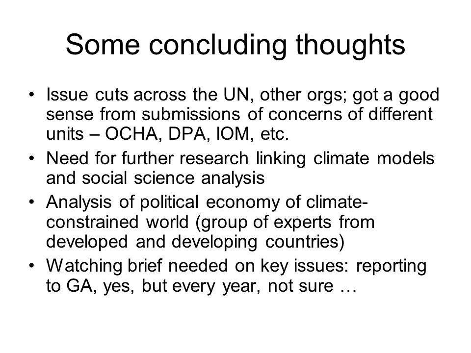 Some concluding thoughts Issue cuts across the UN, other orgs; got a good sense from submissions of concerns of different units – OCHA, DPA, IOM, etc.