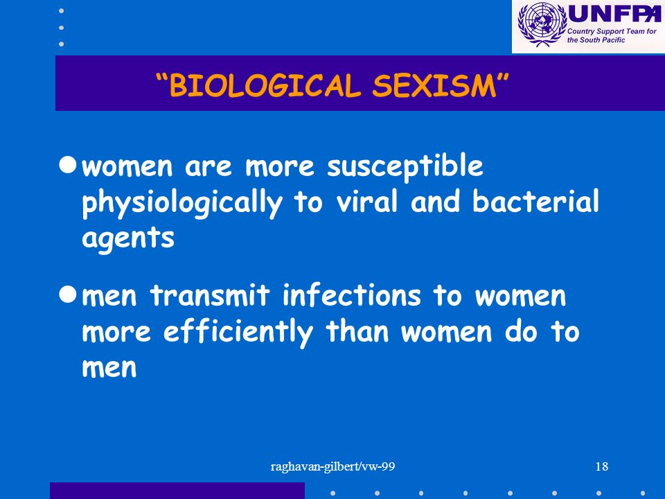 raghavan-gilbert/vw-9918 BIOLOGICAL SEXISM lwomen are more susceptible physiologically to viral and bacterial agents lmen transmit infections to women