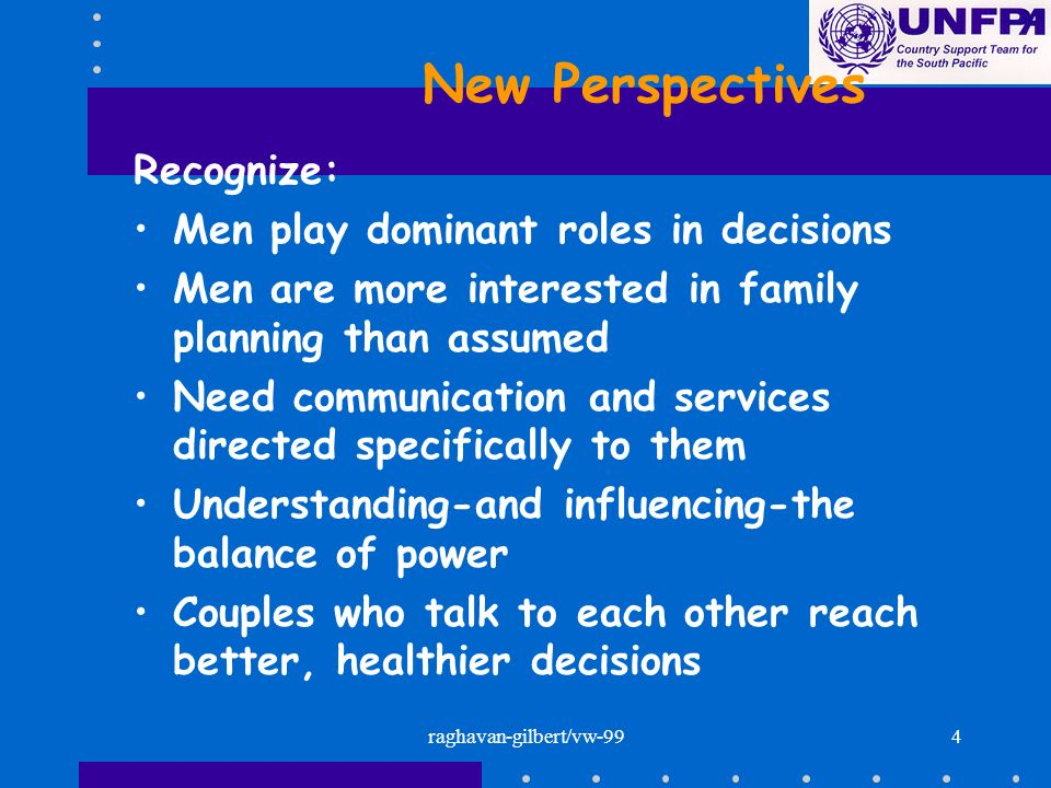 raghavan-gilbert/vw-994 New Perspectives Recognize: Men play dominant roles in decisions Men are more interested in family planning than assumed Need