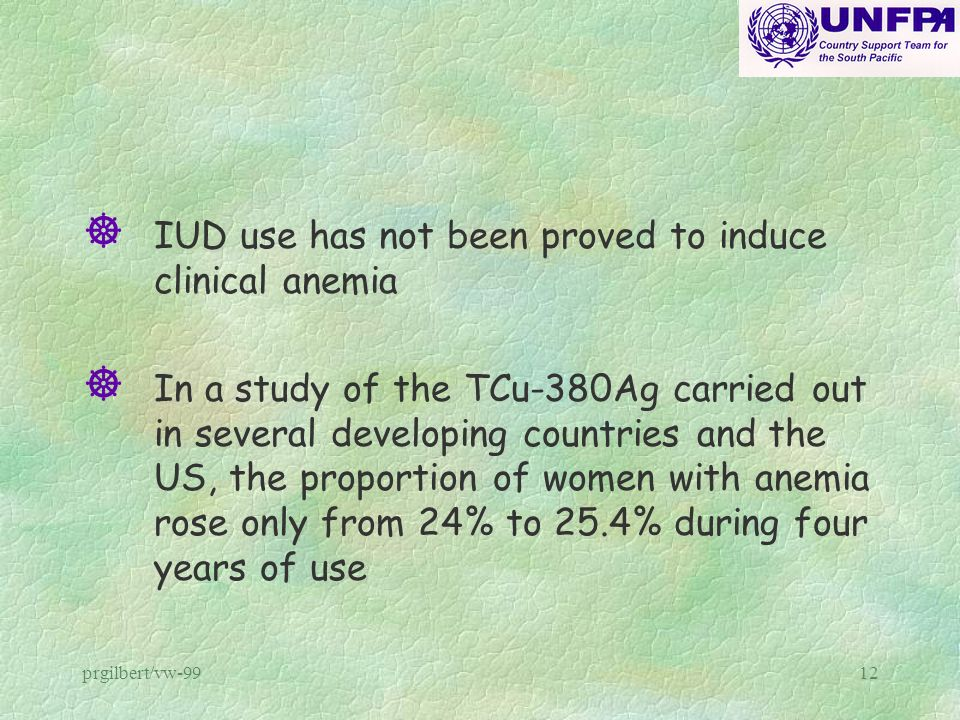 prgilbert/vw-9912 ] IUD use has not been proved to induce clinical anemia ] In a study of the TCu-380Ag carried out in several developing countries an