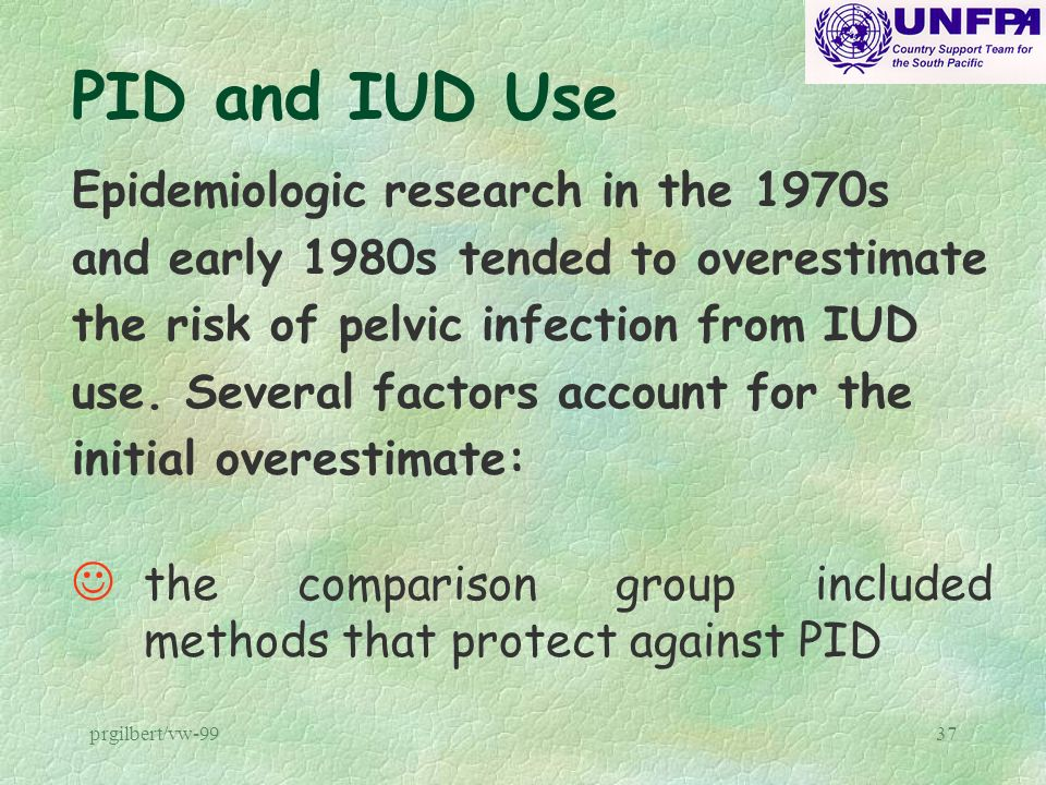 prgilbert/vw-9937 PID and IUD Use Epidemiologic research in the 1970s and early 1980s tended to overestimate the risk of pelvic infection from IUD use