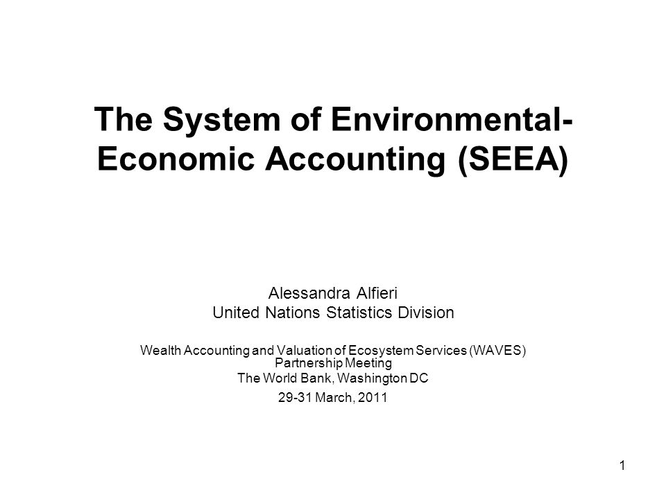 2 Outline 1.The SEEA 2.The SEEA framework 3.Some examples of applications of SEEA 4.The SEEA and Ecosystem accounts 5.The development of SEEA and way forward