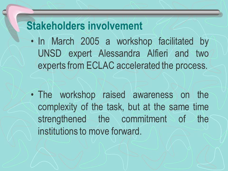 Stakeholders involvement In March 2005 a workshop facilitated by UNSD expert Alessandra Alfieri and two experts from ECLAC accelerated the process.