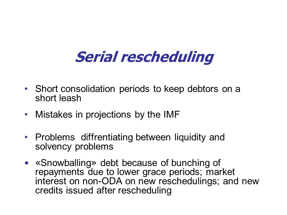 Serial rescheduling Short consolidation periods to keep debtors on a short leash Mistakes in projections by the IMF Problems diffrentiating between li