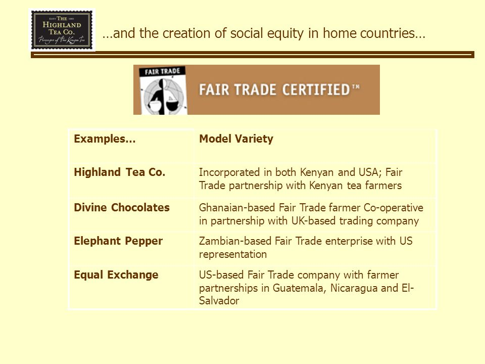 …and the creation of social equity in home countries… Examples…Model Variety Highland Tea Co.Incorporated in both Kenyan and USA; Fair Trade partnership with Kenyan tea farmers Divine ChocolatesGhanaian-based Fair Trade farmer Co-operative in partnership with UK-based trading company Elephant PepperZambian-based Fair Trade enterprise with US representation Equal ExchangeUS-based Fair Trade company with farmer partnerships in Guatemala, Nicaragua and El- Salvador
