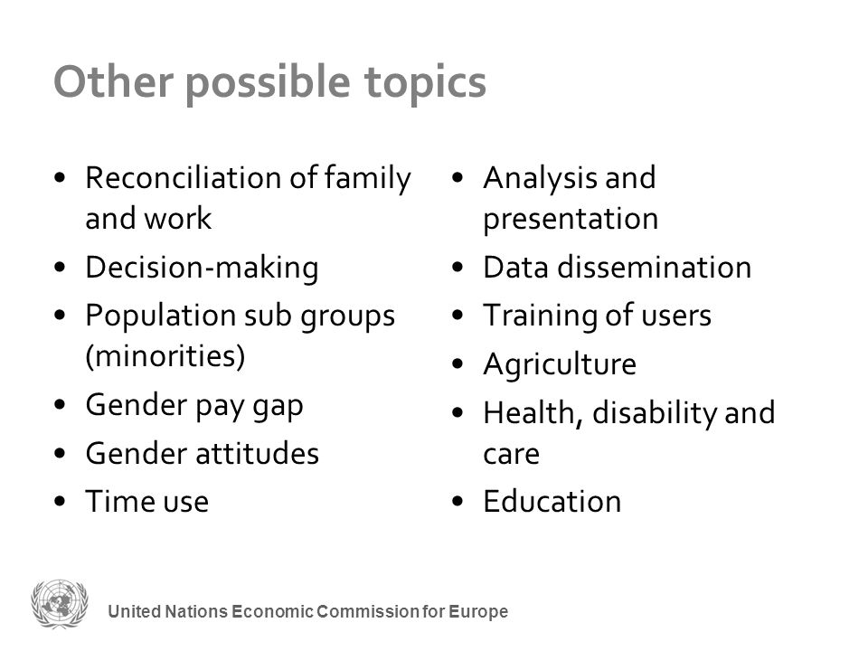 United Nations Economic Commission for Europe Other possible topics Reconciliation of family and work Decision-making Population sub groups (minorities) Gender pay gap Gender attitudes Time use Analysis and presentation Data dissemination Training of users Agriculture Health, disability and care Education