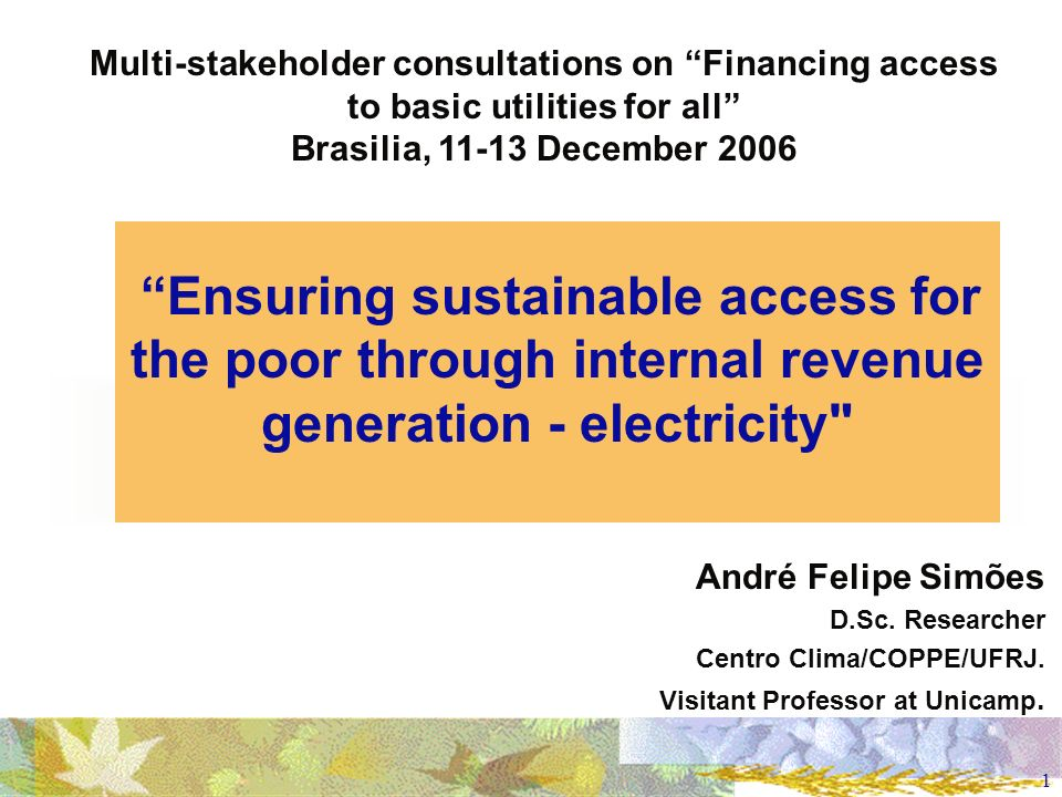 1 Ensuring sustainable access for the poor through internal revenue generation - electricity André Felipe Simões D.Sc.
