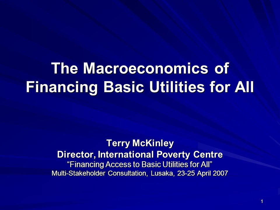 1 The Macroeconomics of Financing Basic Utilities for All Terry McKinley Director, International Poverty Centre Financing Access to Basic Utilities for All Multi-Stakeholder Consultation, Lusaka, April 2007