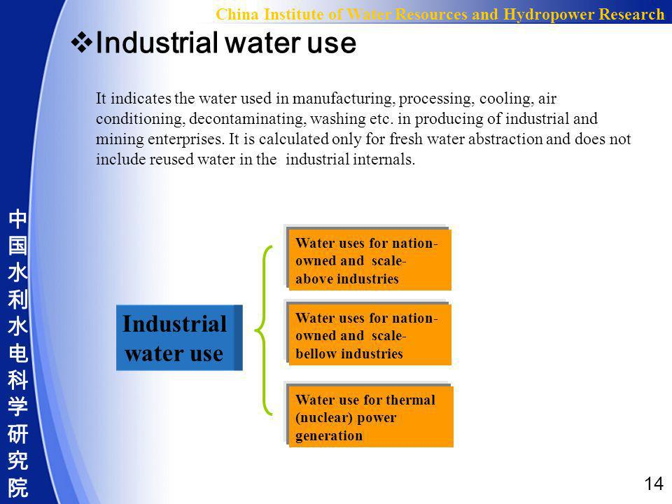 14 China Institute of Water Resources and Hydropower Research Industrial water use It indicates the water used in manufacturing, processing, cooling,