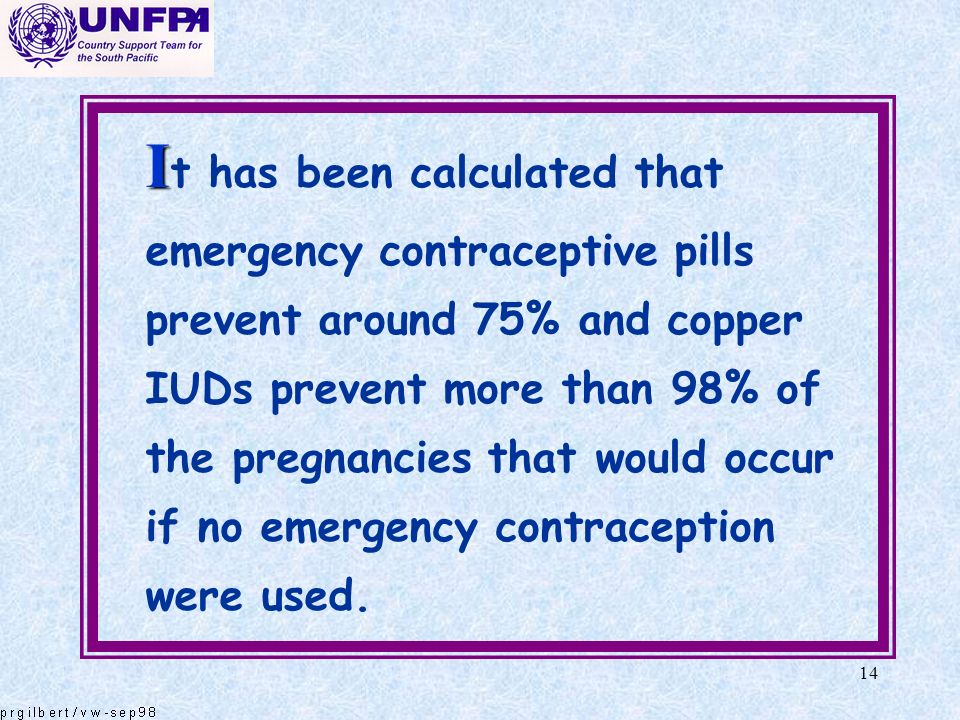 14 I I t has been calculated that emergency contraceptive pills prevent around 75% and copper IUDs prevent more than 98% of the pregnancies that would
