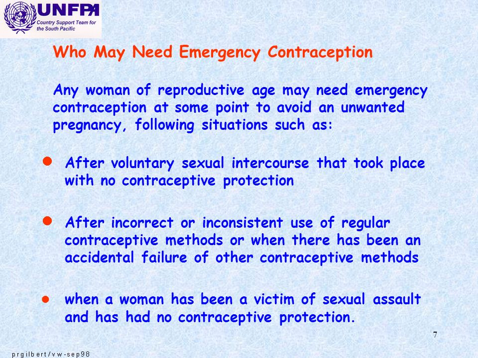 7 Who May Need Emergency Contraception Any woman of reproductive age may need emergency contraception at some point to avoid an unwanted pregnancy, fo