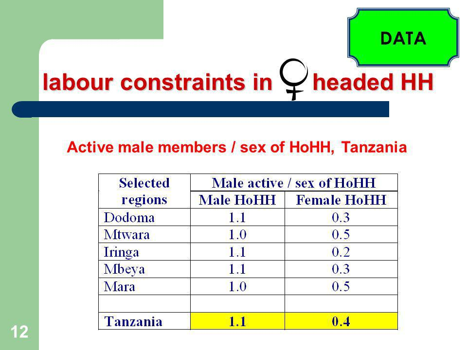 12 labour constraints in headed HH DATA Active male members / sex of HoHH, Tanzania