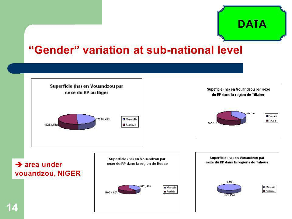 14 Gender variation at sub-national level area under vouandzou, NIGER DATA