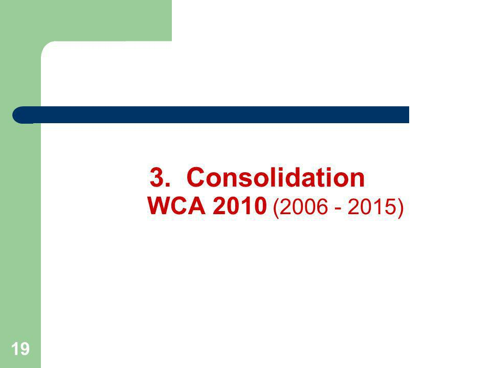19 3.Consolidation WCA 2010 (2006 - 2015)