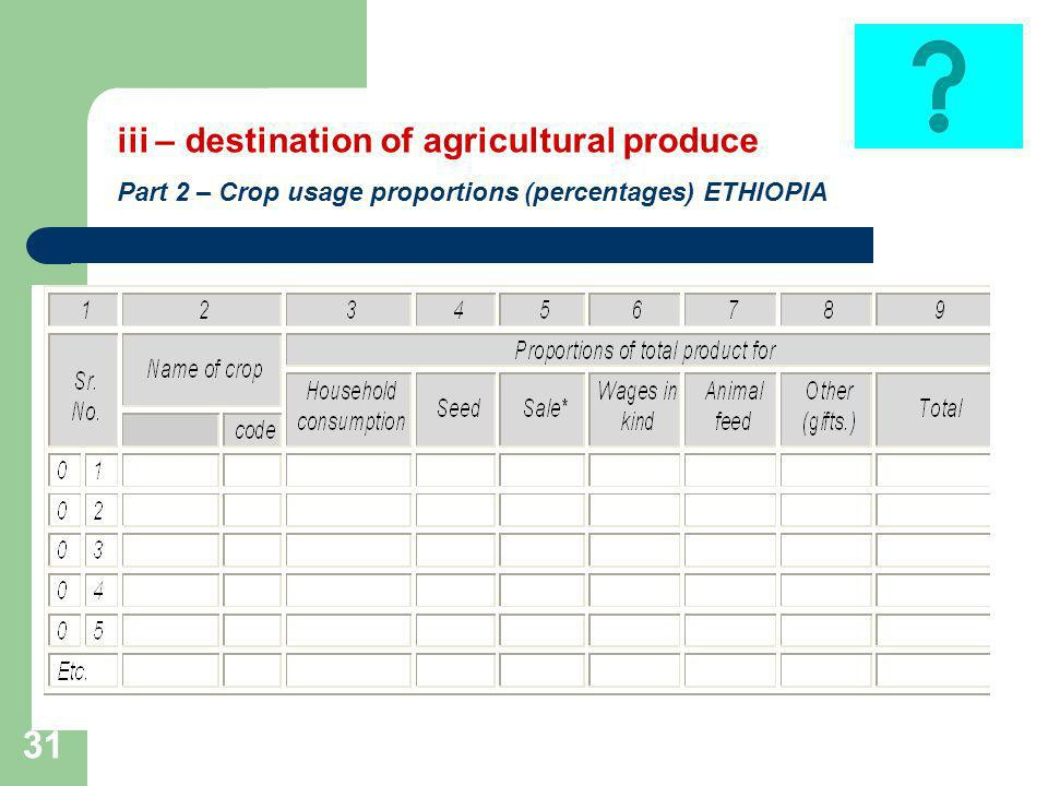 31 iii – destination of agricultural produce Part 2 – Crop usage proportions (percentages) ETHIOPIA